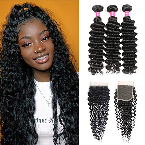 Premium Brazilian Deep Wave Bundles with Closure(16/18/20+14 Inch), 8A+ Brazilian Hair Bundles Deep Curly Weave, 100% Unprocessed Human Hair Extensions Bundles with Closure 4x4 Free Part Natural Black