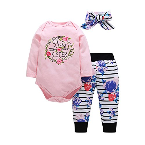 3pcs Baby Girls Winter Outfit Letter Print Romper Jumpsuit Floral Striped Pants and Headbands Set (0-6 Months, Pink) -