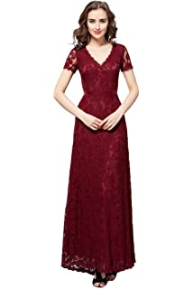 c3d2d8d568 Anna s Bridal Women s V Neck Long Lace Mother of The Bride Dresses with  Sleeves