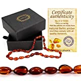 Raw Baltic Amber Teething Necklace for Babies (Unisex) - Anti Inflammatory, Drooling & Teething Pain Reducing Properties - 100% Natural Certificated Oval Baltic Jewelry with The Highest Quality