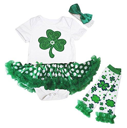 0302f68e284 Petitebella ST Patrick Day Baby Dress Clover Leaf Bodysuit Green Dots Tutu  Leg Warmer Nb-