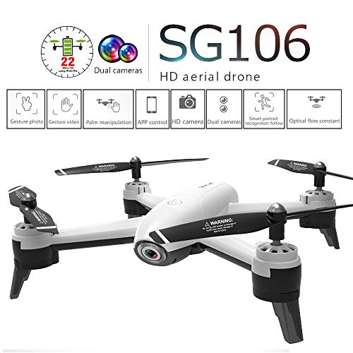 SG106 2.4Ghz 4CH WiFi FPV Optical Flow Dual 1080P HD Camera Follow Me Intelligent Battery Long Control Range for Adult (White, 27 x27 x7cm)