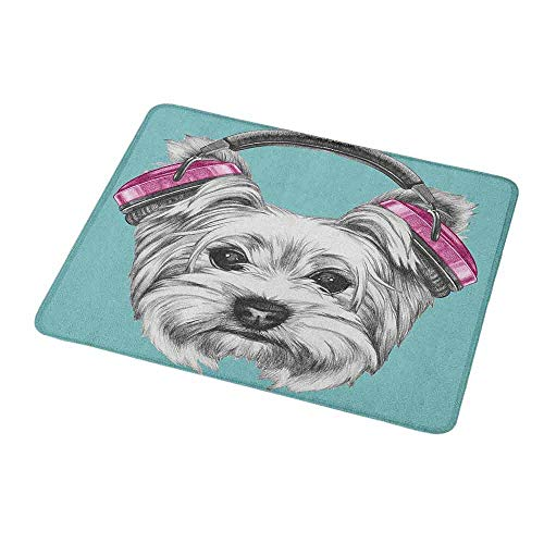 Gaming Mouse Pad Custom Design Mat Yorkie,Dog with Headphones Music Listening Yorkshire Terrier Hand Drawn Caricature,Pale Blue White,Non-Slip Rubber Mousepad (Best Havit Gaming Headphones)
