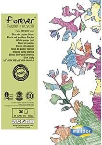 Clairefontaine Maildor 26515C - Bloc de dibujo (papel reciclado, DIN A4, 30 hojas, 130 g), color blanco