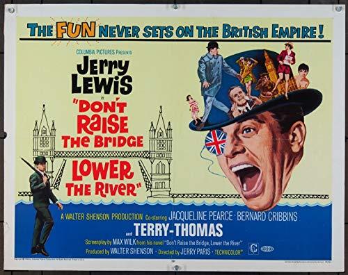 Don't Raise The Bridge, Lower The River (1968) Original Half Sheet Movie Poster 22x28 JERRY LEWIS TERRY-THOMAS Film directed by JERRY PARIS (Don T Raise The Bridge Lower The River)
