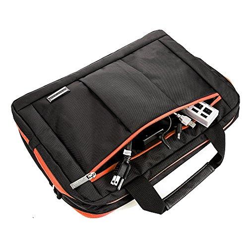 Vangoddy Mens Laptop Bag Sleeve Backpack Messenger Bag 15.6 to 17.3 Dell Precision 15/Precision/Inspiron 15 7000/Alienware 17/Alienware 15/Inspiron 15 Gaming/Fujitsu LIFEBOOK schwarz/orange