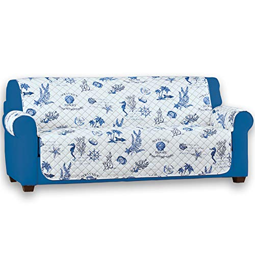 Collections Etc Reversible Catalina Beach-Themed Furniture Protector with Shells, Coral, and Fish - Reverse Side Features Stripe Pattern, - Loveseat Catalina