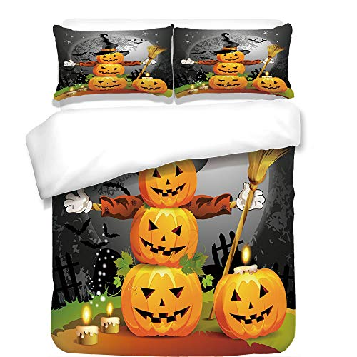 iPrint 3Pcs Duvet Cover Set,Halloween,Cute Pumpkins Funny Composition Traditional Celebration Witches Hat Broomstick,Multicolor,Best Bedding Gifts for Family/Friends