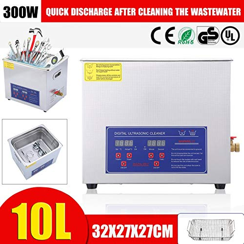 Belovedkai Large Commercial Ultrasonic Cleaner with Heater and Digital Control for Jewelry Watch Glasses Cleaner (10L)