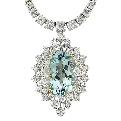 19.85 Carat Natural Blue Aquamarine and Diamond (F-G Color, VS1-VS2 Clarity) 18K White Gold Luxury Necklace for Women Exclusively Handcrafted in USA