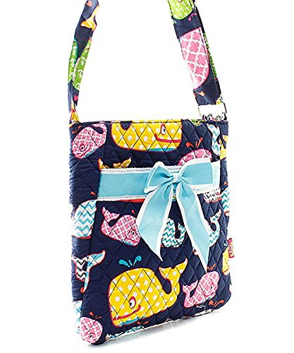 Whale Chevron Stripe Quilted Messenger Hipster Bag with Bow Accent