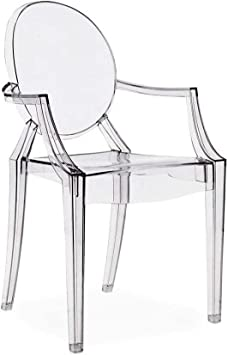 VANITY DRESSING CHAIR 4x CLEAR GHOST TRANSPARENT MODERN PLASTIC DINING CHAIR