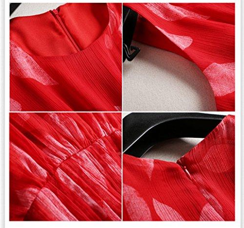Dresses Sleeveless Big Dress Swing Printed Holiday Women`s High Neck Waist cotyledon Scoop for qt6Bx5n8Z