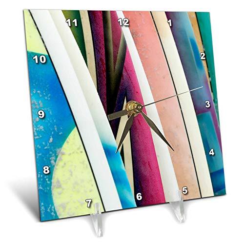 - 3dRose Danita Delimont - Abstracts - Mexico, Baja California Sur, Todos Santos, Cerritos Beach. Surfboards. - 6x6 Desk Clock (dc_314384_1)
