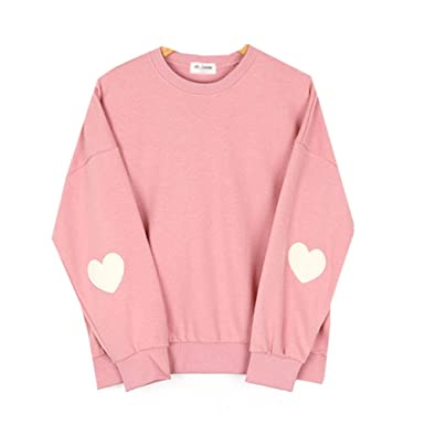 Cute Korean Styles Pink Pastel Heart Elbow Patch Pullover ...