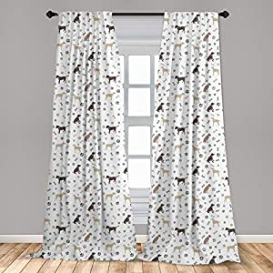 "Ambesonne Dog Lover 2 Panel Curtain Set, Paw Print Bones and Dog Silhouettes American Foxhound Breed Playful Pattern, Lightweight Window Treatment Living Room Bedroom Decor, 56"" x 95"", Umber Beige 6"