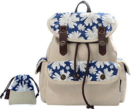 Women's Canvas Travel Bag Student Drawstring Bucket Backpack (Beige) - 2