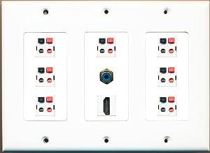 RiteAV Hdmi RCA Blue 7.1 Speaker Jack Home Theater Wall Plate White