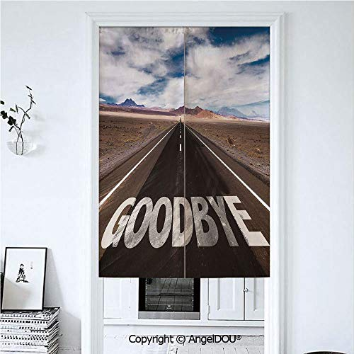 AngelDOU Going Away Party Decorations Japanese Durable Doorway Curtains Goodbye Written on -