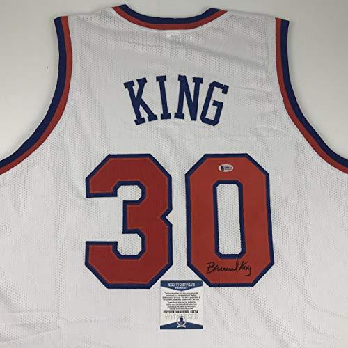 Bernard Basketball King Autographed - Autographed/Signed Bernard King New York White Basketball Jersey Beckett BAS COA