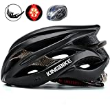 KINGBIKE Adult Bike Helmet Ultralight with Helmet Rain Cover and Safety Rear Led Light for Men Women (Black)