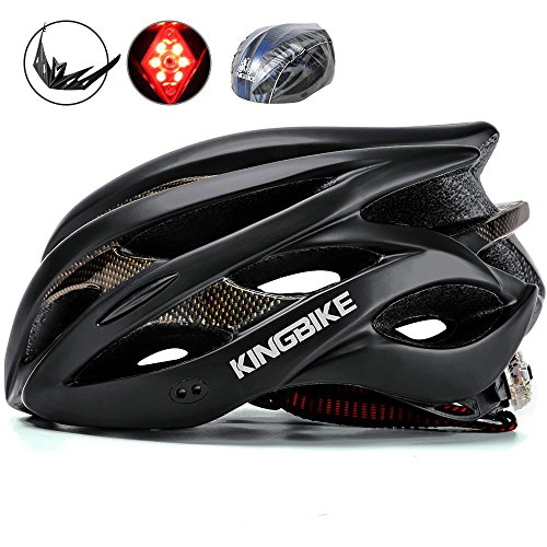 Bike Helmet Cover - KINGBIKE Adult Bike Helmet Ultralight with Helmet Rain Cover and Safety Rear Led Light for Men Women (Black)