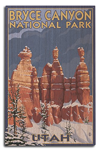 (Bryce Canyon National Park, Utah - Winter Scene #2 (10x15 Wood Wall Sign, Wall Decor Ready to Hang))