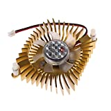 RingBuu DC 12V 80mm Video Graphics VGA Radiator Cards Cooling Fan 2Pins Mounting Hole (Gold)