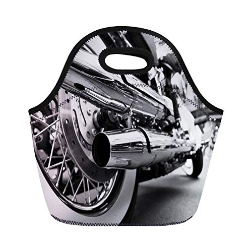 Semtomn Neoprene Lunch Tote Bag Silver Motorbike Motorcycle Exhaust Chrome Motor Bike Chopper Classic Reusable Cooler Bags Insulated Thermal Picnic Handbag for Travel,School,Outdoors,Work ()