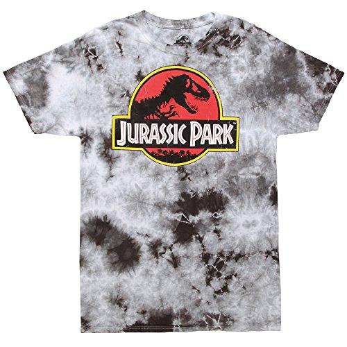 Fifth Sun Jurassic Park Tye Die Logo Adult T-Shirt - Black Wash (Small) ()