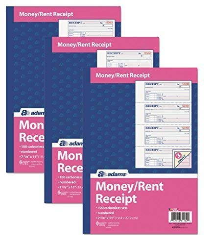 - Adams Money and Rent Receipt Book, 3-Part, Carbonless, White/Canary/Pink,7 5/8