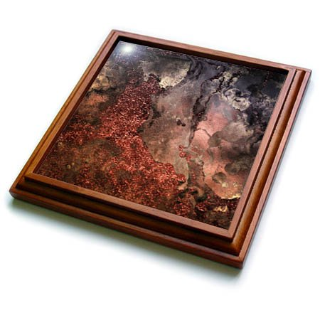 3dRose trv_265467_1 Copper and Gold Blush Rose Ombre Gemstone Ink Glitter Marble Trivet with Tile, 8 by 8'' by 3dRose