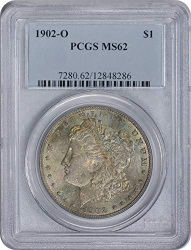 1902 O Morgan Silver Dollar Grey w/Blue Toned Obverse, Soft Golden Reverse MS62 PCGS (Toned Obverse)