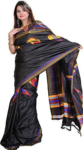 Ikat Sari - Exotic India Licorice-Black Double Ikat Sari from Pochampally with Hand-Woven Pe