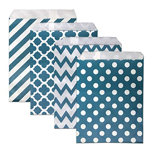 Candy Buffet Bag 100 PCS Paper Treat Bags 5 x 7 INCH Chevron Goodie Bags Biodegradable Snack Sacks Party Favor Gift Bag for Wedding Baby Shower (Navy)