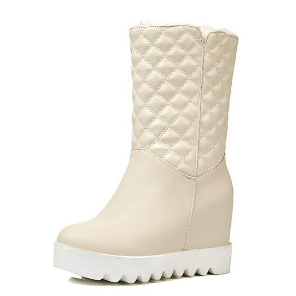 Hy Frauen Schneeschuhe Stiefel Winter Künstliche PU Stiefelies/Damen Warm Winddicht Slip-Ons Ankle Stiefel/Große Größe Winterstiefel (Farbe : B, Größe : 37)