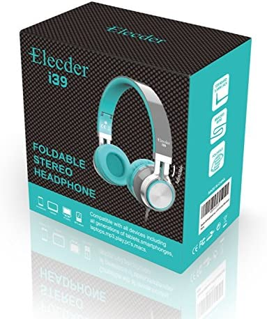 Elecder i39 Headphones with Microphone Foldable Lightweight Adjustable On Ear Headsets with 3.5mm Jack for iPad Cellphones Computer MP3/4 Kindle Airplane School (Mint/Gray) 51oT  QtdfL