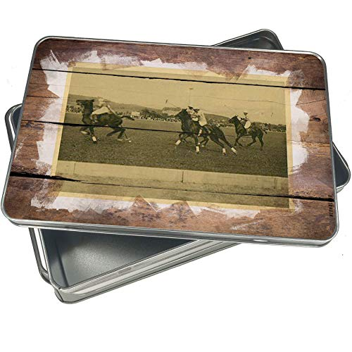 (NEONBLOND Cookie Box Horses in polo, Vintage Christmas Metal Container)