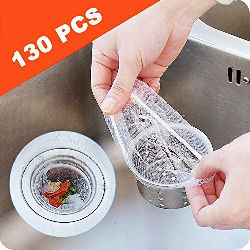 130pcs Sink Strainer Bags, Disposable Mesh Filter Bag for Stainless Steel Sink Basket 88766456788