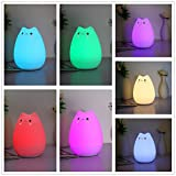 Children Night Light,Elfeland Remote Control LED Cute Silicone Cat Lamp 12+1 Colors/6 Lighting Modes/USB Rechargeable/Timing Off for Kids Bedside Bedroom Nursery Birthday Gift Valentine Present