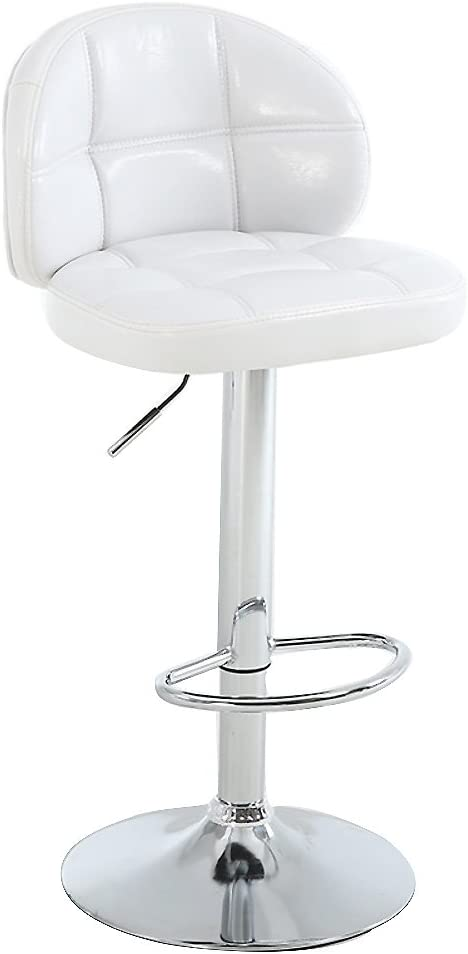 Adjustable Leather bar stools, Swivel Kitchen Chair Lift Chair Bar stools Counter Height Bar stools with Back Easy to Assemble-White