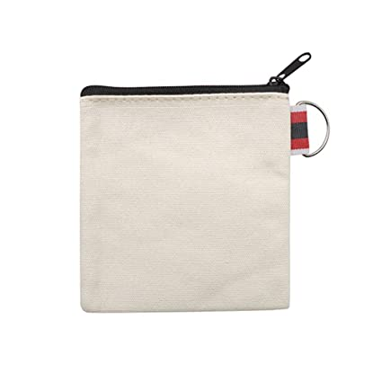 Aspire 60-Pack DIY Natural Canvas Coin Purses with Black Zipper Small Square Pouches