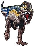 Novelty Iron On -Dinosaurs - Purple & Brown T-Rex - Logo Patch - Applique