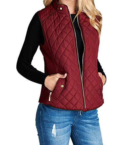 Hollywood Star Fashion Womens Quilted Vest Jacket Coat (Small Burgundy)