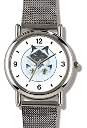 Birman Cat Mother and two Kittens- WATCHBUDDY® ELITE Chrome-Plated Metal Alloy Watch with Metal Mesh Strap-Size-Small ( Children's Size - Boy's Size & Girl's Size )