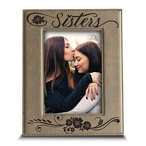 Bella Busta- Sisters picture frame- Gift for sister- Gift for parents- Engraved Leather Picture Frame (4
