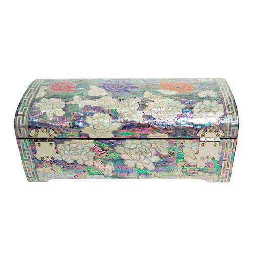 Mother of Pearl Red Purple Pink Peony Flower Design Lacquered Wooden Mirrored Lock Key Jewelry Trinket Keepsake Treasure Box Case Chest Organizer by Antique Alive Jewelry Box (Image #2)