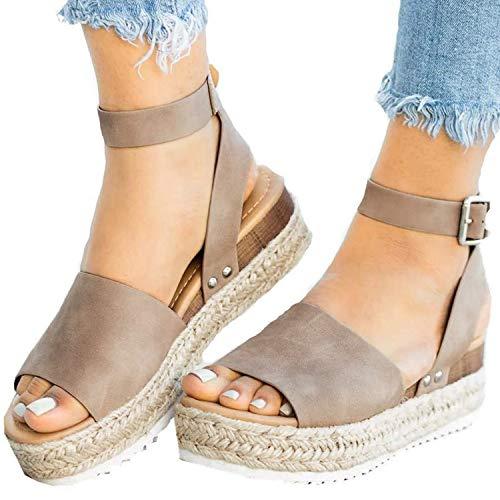 XMWEALTHY Women's Ankle Strap Platform Wedges Sandals Casual Open Toe Espadrilles Sandals for Summer Size 5.5 Khaki