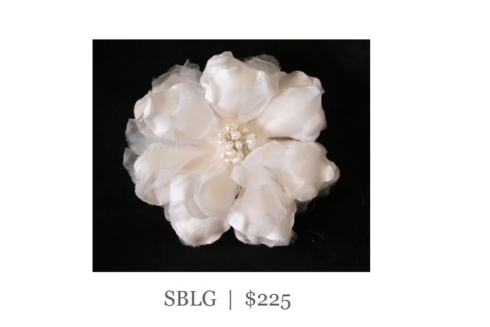 Silk Gardenia Bridal Comb with Fresh Water Pearls