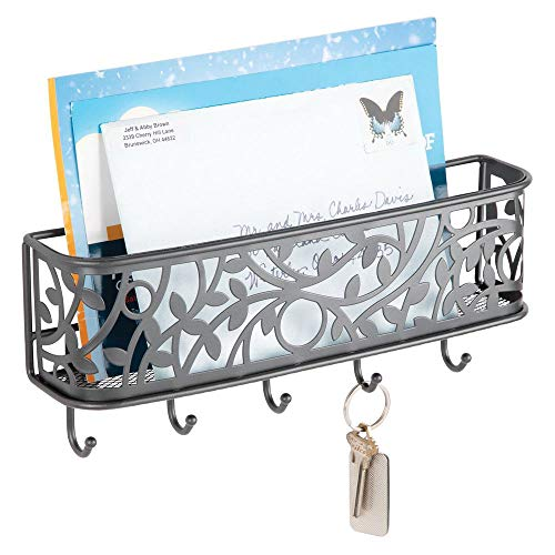 mDesign Wall Mount Metal Entryway Storage Organizer Mail Sorter Basket with 5 Hooks - Letter, Magazine, Coat, Leash and Key Holder for Entryway, Mudroom, Hallway, Kitchen, Office - Graphite Gray ()